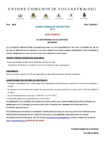 Elini. avisu biàgiu a is termas pro is betzos de s'Unione de is Comunos de 'Ogiastra-001